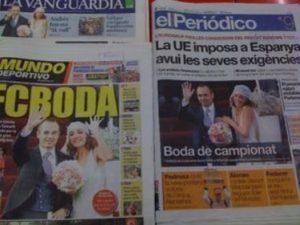 アンドレス・イニエスタの結婚式でスペイン紙の一面を飾った画像