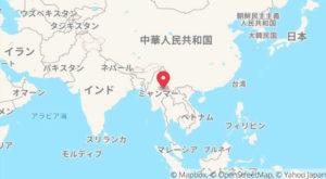 ミャンマーと日本の位置関係を表した地図