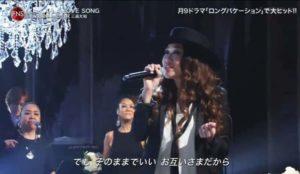 JUJUがFNS歌謡祭で歌う左くすり指に指輪がつけられている画像