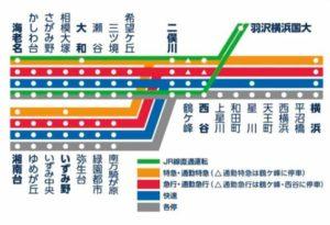 秋元真夏が通学していた相鉄線の路線図